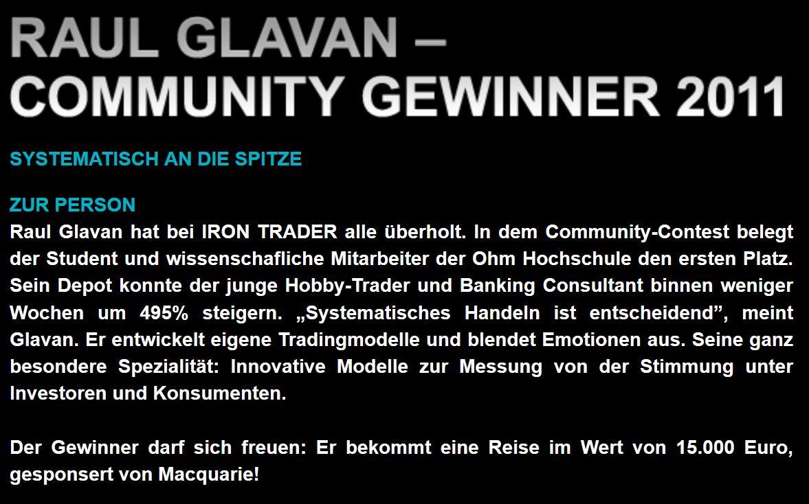 Raul Andreas Glavan Iron Trader Gewinner
